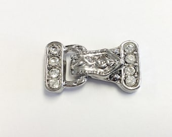 Silver plated crystal Clasp
