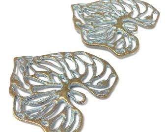 2 antique brass leaf charms