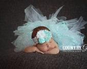Aqua Blue and White...Tutu and Headband Set...Trio Rosette Headband...Newborn Headband...Photography Props...Newborn Tutu...Tutu Set...Aqua