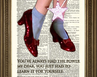 "WIZARD OF OZ Dictionary Art: Ruby Red Slippers and Glinda 'You've Always Had the Power' - Vintage Movie Book Page Print (8 x 10"")"