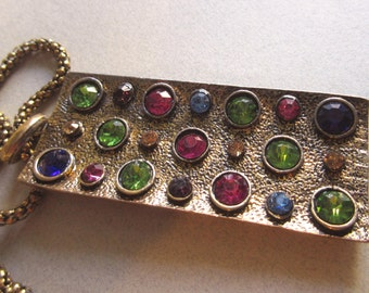 Vintage Mid Century Style Multi Color Rhinestone Pendant Necklace Costume Jewelry green pink blue