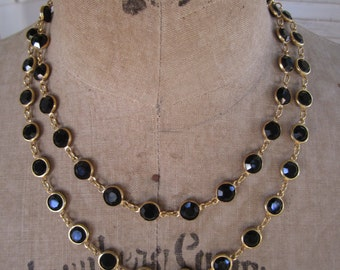 Austrian Crystal Necklace Bezel Set Black Jet Goldtone Metal Long 36 inches
