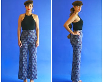 high waisted bell bottoms/ high waist plaid bell bottom trousers/ 1970s/ small - medium