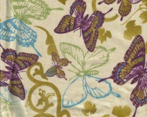 Flannel Butterfly Print Fat Quarter Fabric