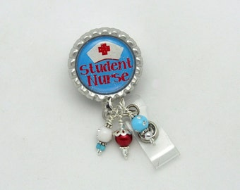Student Nurse Badge Reel - Designer Badge Reels - Beaded Badge Holders - Student Nurse Gifts - Badge Reel Gifts - ID Wear With Flair - Badge