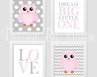 Baby Girl Nursery Playroom Wall Decor Prayer Pink Gray Chevron - Set of 4 digital prints
