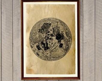 Full moon poster Night sky print Vintage decor AK813