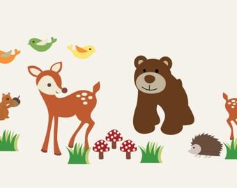 animal decals - vinyl wall decal - woodland  - nursery decal - forest animals - bear - fox - deer