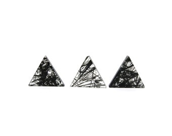 Tourmalinated Quartz Crystal 1 Triangle Slice 14mm Black Tourmaline Included Quartz For Jewelry Making and Setting (Lot C23) Cabochon Slice