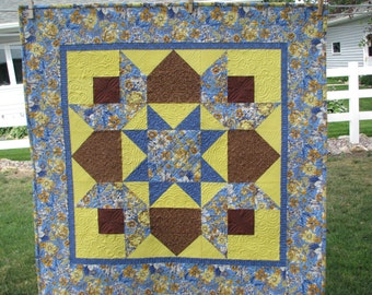 Quilted Wall Hanging - Quilted - Yellow and Blue Quilted Wall Hanging