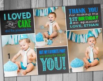 Thank You Card 1st Birthday Boy Birthday Girl Birthday First Birthday Printable Chalkboard Photo Card Photo Thank Birthday Thank You