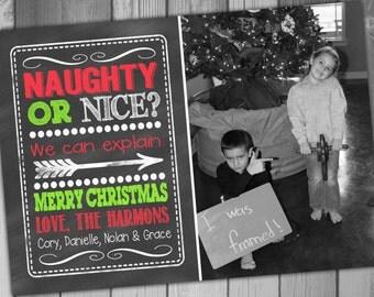 Naught or Nice Christmas Photo Card Holiday Photo Card Printable Christmas Cards Printable Holiday Cards Digital Christmas Photo Card