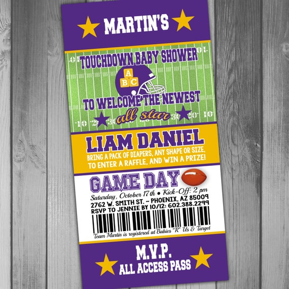 Minnesota Vikings Inspired Football Baby Shower Invitation