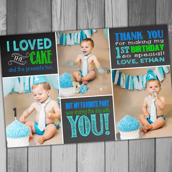 Thank You Card 1st Birthday Boy Birthday Girl Birthday First – 1st Birthday Thank You Cards