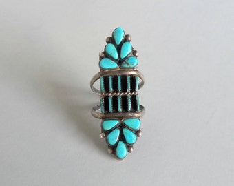 Turquoise Sterling Ring. Oversize Needlepoint Tribal. Size 8.25
