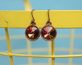 Sun fire rivoli Crystal earrings - rivoli style swarovski crystal earrings for women, orange red, copper setting