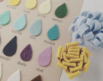 Felt Color Swatch - Raindrop Felt Color Chart by Catshy Crafts / 3D Wall Art