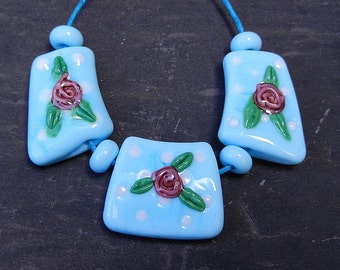 Pale Blue Spotty Rose Cleopatra Lampwork Beads