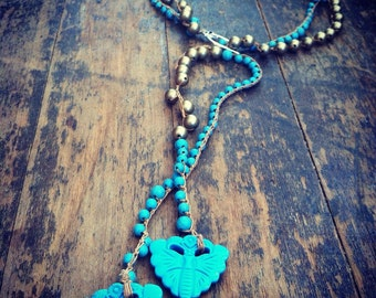 Golden Day Crochet Lariat Necklace