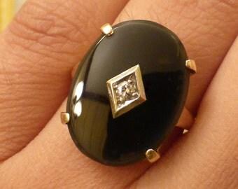 Large 1930s 14k Palladium Diamond and Onyx ring