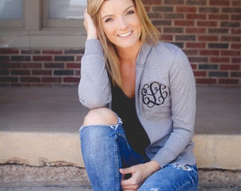 Monogrammed woman's hoodie. Light weight zip up sweatshirt with monogram. Bridesmaid gift. Birthday present. Embroidered initial clothes.