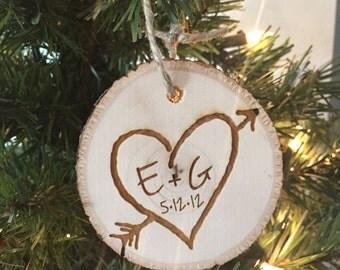 Rustic Christmas Ornament, Tree Slice Christmas Ornament, Wedding Christmas Ornament, Rustic Wedding, Rustic Christmas, Wedding Tree Slice