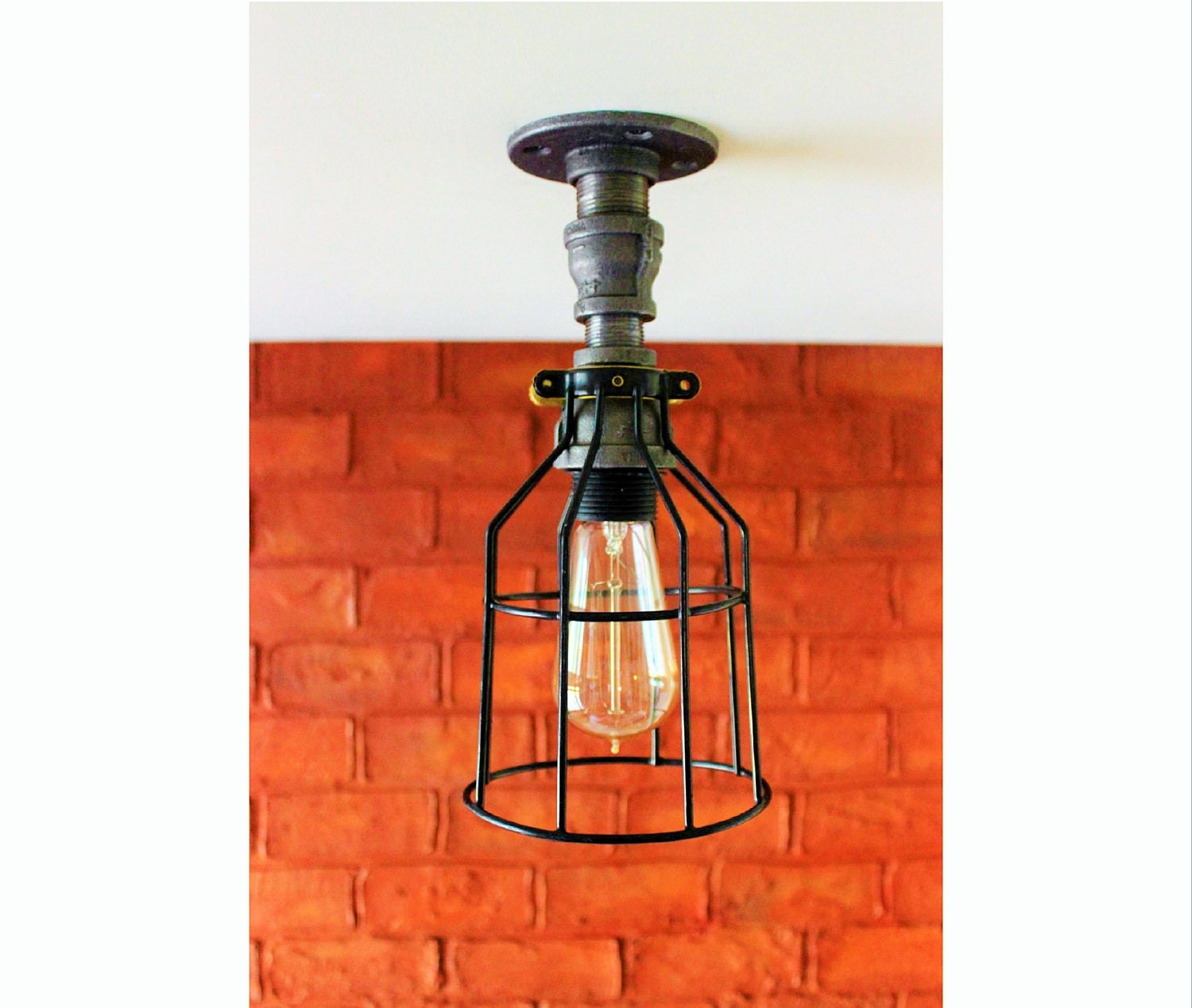 Ceiling Light Industrial Lighting Pipe Farmhouse Mason Jar