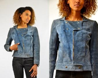 70s Moto Jacket Blue Suede Leather Cropped Rocker Jacket