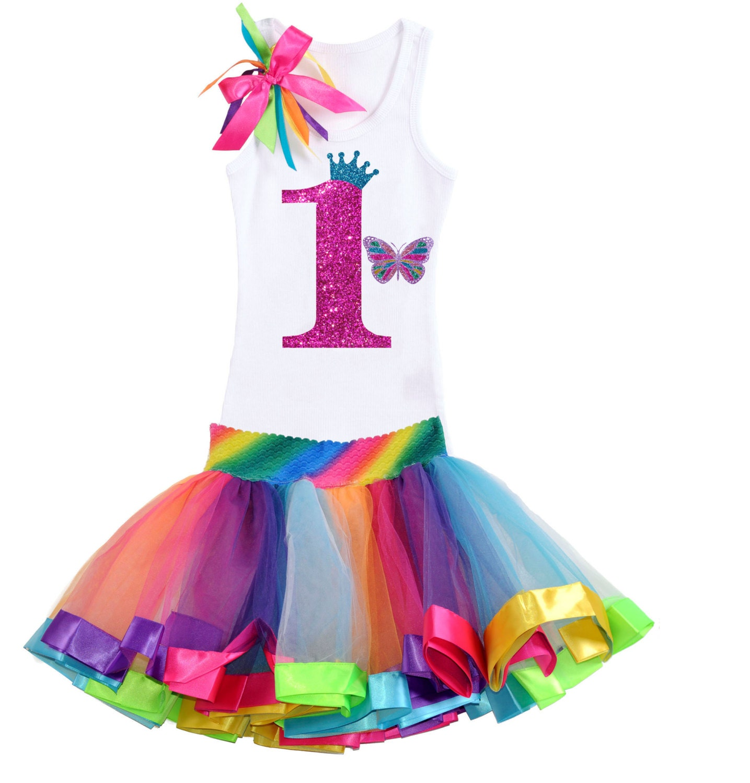 Baby's 1st Birthday Outfit Rainbow Tutu By BubbleGumDivas