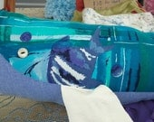 Upcycled Stuffed Whale Doll or Pillow with Leather Fins