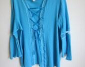 Boho Tunic Top gypsy hippy festival teal gauze lace up 1X  plus size