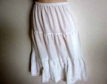 Vintage half slip white cotton tiered petticoat boho skirt style S