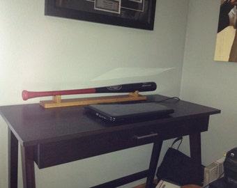 Full Size Horizontal Baseball bat DESKTOP display rack case shelf - Espresso Oak