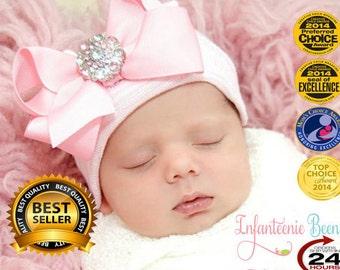 newborn girl take home outfit Newborn Beanie White and Pink Beanie with Bow Portrait Hat Newborn Hospital Hat Baby Girl Infanteenie Beanie