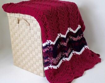 Afghan - Handmade Crochet Ripple Blanket - Raspberry - Coordinating Purples