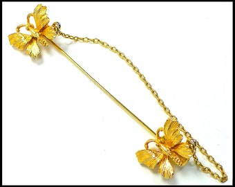 Gold Butterfly Stickpin, 2 Butterflies with Gold Chain, Gold Chain Kilt Pin, Butterfly Hat Pin, Gift for Butterfly Lover, Gift For Her