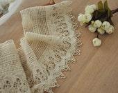 Vintage Style Cotton Fabric Lace Trim,  Ecru Crochetd Lace Trim, Bridal Accessory Lace Trim