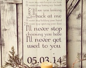 Wedding song lyrics painted on barn wood with nanes and date. Wedding gift. Anniversary gift. 5 year anniversary gift.