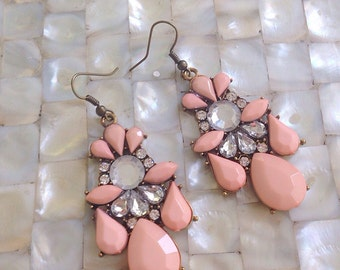 Pink Chandelier Earrings Rhinestone Statement