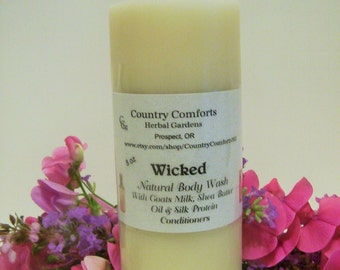Wicked Natural Body Wash - Goats Milk, Shea Butter Oil, Silk Protein Conditioners - 8 oz bottle