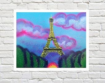 Eiffel Tower Art print Paris Art Eiffel Tower Art France Art Sunset Paris Eiffel Clouds