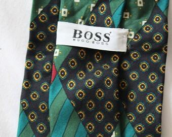 Vintage Floral Hugo Boss Neck Tie- Necktie -mens -designer -silk tie