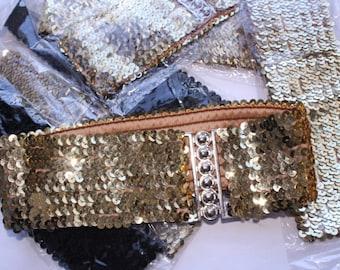 Sequin stretchy Belt -metallic - silver -black- Sequinne