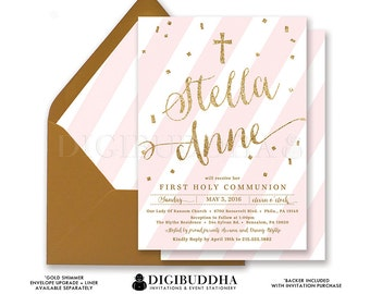 GIRL FIRST COMMUNION Invitation Pink & Gold Christian Religious Party Baptism Girl Blush Pink Stripe Glitter Confetti Printed or DiY- Stella