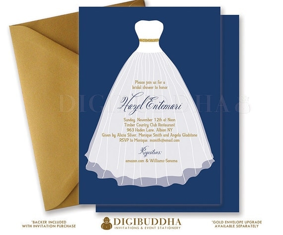 Bridal shower invitation bridal shower invite wedding dress navy il570xn filmwisefo
