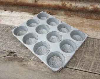 Antique Enamelware Muffin Bake Pan Cupcake Vintage Baking Mold vtg Kitchen Collectible Graniteware Gray Grey Porcelain Enamel Country Rustic
