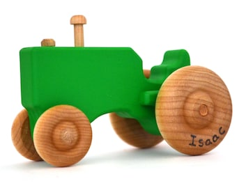 Green Wood Toy Tractor - Personalized Wooden Toy - Waldorf Push Toy