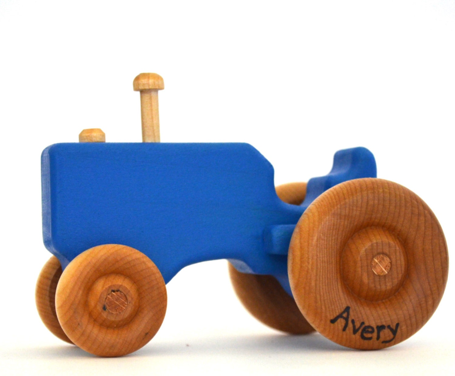 Blue Wood Toy Tractor Personalized Wooden Toy Push Toy