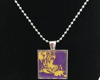 Louisiana State Inspired Necklace, LSU, Purple and Gold