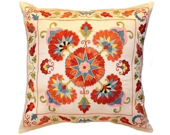 Handmade Suzani Pillow Cover msp12-37, Suzani Pillow, Uzbek Suzani, Suzani Throw, Boho Pillow, Suzani, Decorative pillows, Accent pillows